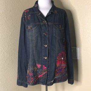 {Chico's} Embellished Sequins Color Denim Jacket